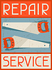 Reparatur-Service. Retro Poster im flachen Design-Stil