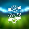Sport-Hintergrund mit Fußball-Stadion und Etiketten