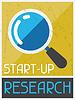 Start-up-Forschung. Retro Poster im flachen Design-Stil