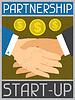 Start-up-Partnerschaft. Retro Poster im flachen Design