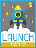 Starten Sie auf Start-up. Retro Poster im flachen Design-Stil