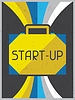 Start-up. Retro Poster im flachen Design-Stil
