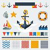 Sammlung von nautischen Symbole, Symbole und Elemente