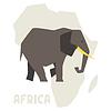 Einfache Elefanten auf Hintergrund Afrika Karte