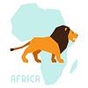 Einfache Löwen auf Hintergrund Afrika Karte