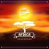 Afrikanischen ethnischen Hintergrund auf Abend Savanne