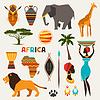 Set von afrikanischen ethnischen Stil-Ikonen in flachen Stil