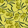 Nahtlose Muster mit frischen, reifen Olivenzweige