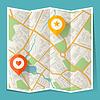 Abstrakte Stadt gefaltete Karte mit Ortsmarken