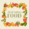 Vegetarisches Essen. Hintergrund-Design mit stilisierten