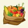 Saco estilizada con verduras frescas y maduras | Ilustración vectorial
