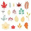 Set von verschiedenen stilisierte Blätter im Herbst und Elemente
