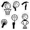 Basketball Icon-Set von Gesten und Symbole in Spiel
