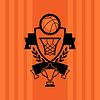 Hintergrund mit Basketball, Ball, Reifen und Etiketten