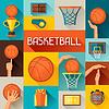 Sport Hintergrund mit Basketball-Ikonen in Flach