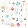 Conjunto de varias flores estilizadas y elementos | Ilustración vectorial