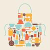 Hintergrund mit Küche und Restaurant Utensilien