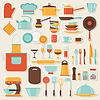 Küchen-und Restaurant-Icon-Set von Geschirr | Stock Vektrografik