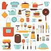 Küchen-und Restaurant-Icon-Set von Geschirr