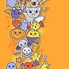 Nahtlose Halloween kawaii Muster mit Aufkleber