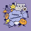 Halloween kawaii Grußkarte mit niedlichen doodles