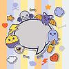 Halloween kawaii Grußkarte mit niedlichen Aufkleber