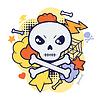 Halloween kawaii Druck oder Karte mit niedlichen Doodle