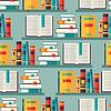 Nahtlose Muster mit Bücher auf Bücherregale in Flach