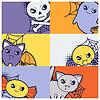 Halloween kawaii Grußkarten mit niedlichen doodles