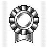 Schwarz Gravur Trophäe und Auszeichnung mit Band
