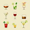 Alkohol Getränke und Cocktails Symbol im Flach desig eingestellt