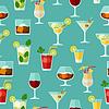 Alkohol Getränke und Cocktails nahtlose Muster in