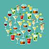 Alkohol Getränke und Cocktails für Menü oder Weinkarte