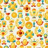 Nahtlose Muster mit Pokal und Auszeichnungen in Flach
