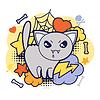 Halloween kawaii Druck oder Karte mit niedlichen Katze doodle