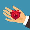 Postkarte Mann Hand Geschenk-Box