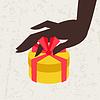 Karte weiblichen Hand holding Geschenk-Box