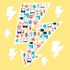 Industrie Hintergrund mit Strom Symbole in Flach