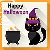 Векторный клипарт: Счастливый Хэллоуин открытка в плоском стиле дизайна