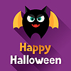 Happy Halloween-Grußkarte in flachen Design-Stil