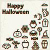 Векторный клипарт: Счастливый Хэллоуин открытка с эффектом наложения