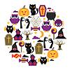 Векторный клипарт: Счастливый Хэллоуин открытка с плоскими иконками