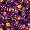 Happy Halloween nahtlose Muster mit Flach Symbole