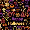 Векторный клипарт: Счастливый Хэллоуин бесшовные модели с плоскими иконками
