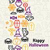 Happy Halloween-Grußkarte mit Flach Symbole