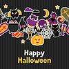 Векторный клипарт: Счастливый Хэллоуин открытка с плоской наклейкой