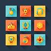 Векторный клипарт: Трофи и награды набор иконок в стиле плоский дизайн