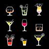 Векторный клипарт: Алкоголь напитки и коктейли набор иконок в плоской назн