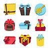 Векторный клипарт: Значок Празднование набор красочных подарочные коробки