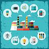 Векторный клипарт: промышленные электростанции в плоской стиле